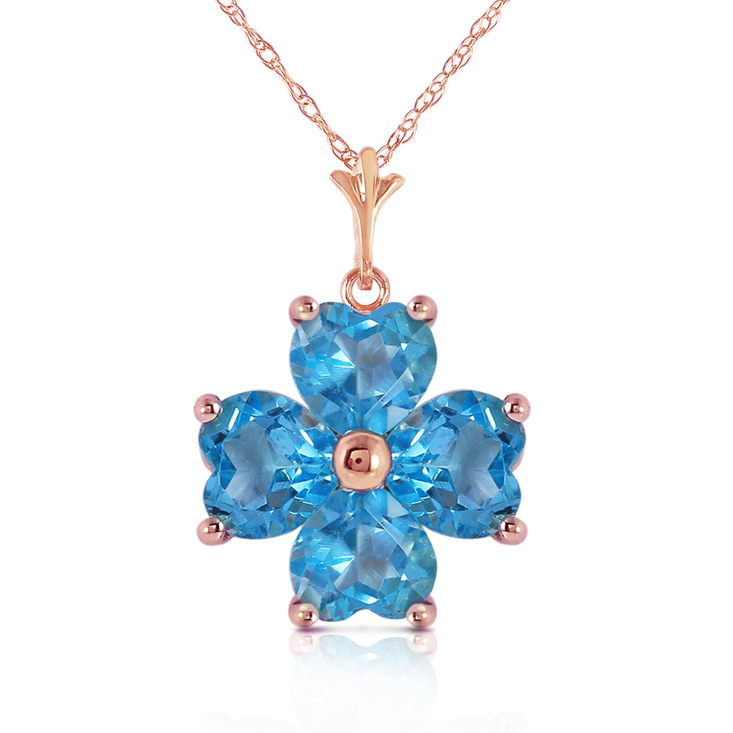 ALARRI 14K Solid Rose Gold Necklace w// Natural Blue Topaz with 22 Inch Chain Length