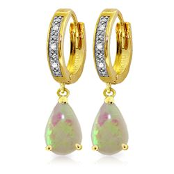 ALARRI 1.58 Carat 14K Solid Gold Hoop Earrings Diamond Opal