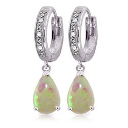 ALARRI 1.58 Carat 14K Solid White Gold Hoop Earrings Diamond Opal