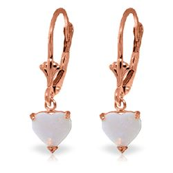 ALARRI 1.3 Carat 14K Solid Rose Gold Leverback Earrings Natural Opal