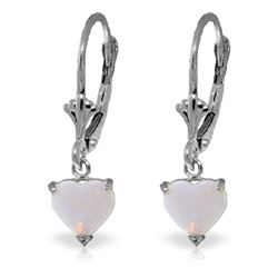 ALARRI 1.3 Carat 14K Solid White Gold Leverback Earrings Natural Opal