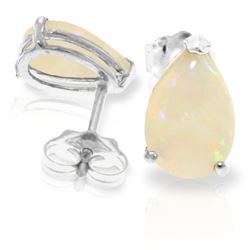 ALARRI 1.55 Carat 14K Solid White Gold Stud Earrings Natural Opal