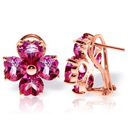 ALARRI 7.6 Carat 14K Solid Rose Gold French Clips Earrings Natural Pink Topaz