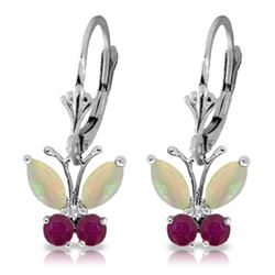 ALARRI 1.39 Carat 14K Solid White Gold Butterfly Earrings Opal Ruby