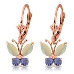 ALARRI 1.39 Carat 14K Solid Rose Gold Butterfly Earrings Opal Tanzanite