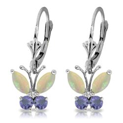 ALARRI 1.39 Carat 14K Solid White Gold Butterfly Earrings Opal Tanzanite