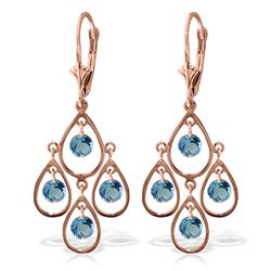 ALARRI 2.4 Carat 14K Solid Rose Gold Aquamarine Tiered Earrings