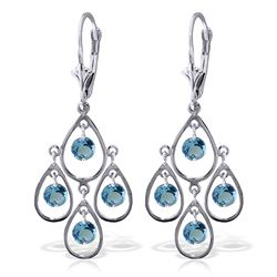 ALARRI 2.4 Carat 14K Solid Gold Almost Daylight Blue Topaz Earrings