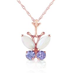 ALARRI 0.7 Carat 14K Solid Rose Gold Butterfly Necklace Opal Tanzanite