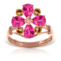 ALARRI 14K Solid Rose Gold Ring w/ Natural Pink Topaz & Citrine