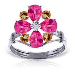 ALARRI 2.43 CTW 14K Solid White Gold Ring Natural Pink Topaz Citrine