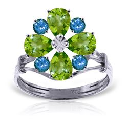 ALARRI 2.43 CTW 14K Solid White Gold Ring Natural Peridot Blue Topaz