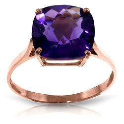 ALARRI 3.6 CTW 14K Solid Rose Gold Ring Natural Checkerboard Cut Purple Amethyst