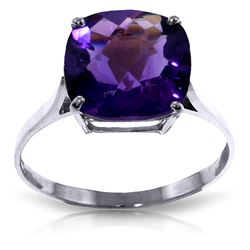 ALARRI 3.6 Carat 14K Solid White Gold Ring Natural Checkerboard Cut Purple Amethyst