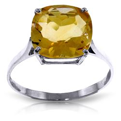 ALARRI 3.6 Carat 14K Solid White Gold Ring Natural Checkerboard Cut Citrine