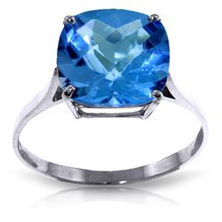 ALARRI 3.6 Carat 14K Solid White Gold Ring Natural Checkerboard Cut Blue Topaz