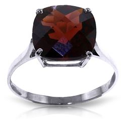 ALARRI 4.5 CTW 14K Solid White Gold Ring Natural Checkerboard Cut Garnet