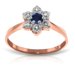 ALARRI 14K Solid Rose Gold Ring w/ Natural Diamonds & Sapphire