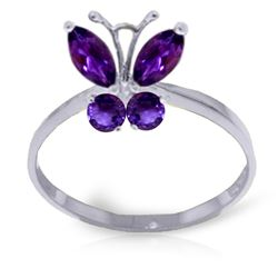 ALARRI 0.6 CTW 14K Solid White Gold Butterfly Ring Natural Purple Amethyst