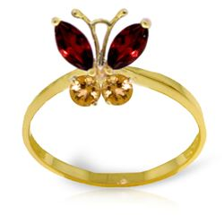 ALARRI 0.6 CTW 14K Solid Gold Butterfly Ring Garnet Citrine