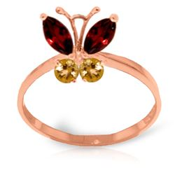 ALARRI 0.6 Carat 14K Solid Rose Gold Butterfly Ring Garnet Citrine