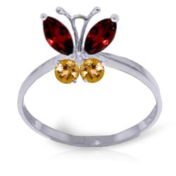 ALARRI 0.6 CTW 14K Solid White Gold Butterfly Ring Garnet Citrine