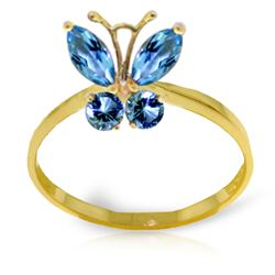 ALARRI 0.6 Carat 14K Solid Gold Butterfly Ring Natural Blue Topaz