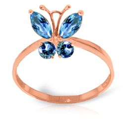 ALARRI 0.6 CTW 14K Solid Rose Gold Butterfly Ring Natural Blue Topaz