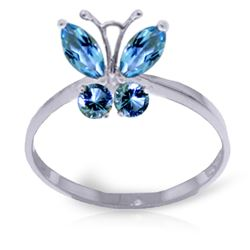 ALARRI 0.6 Carat 14K Solid White Gold Butterfly Ring Natural Blue Topaz