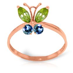 ALARRI 0.6 CTW 14K Solid Rose Gold Butterfly Ring Peridot Blue Topaz