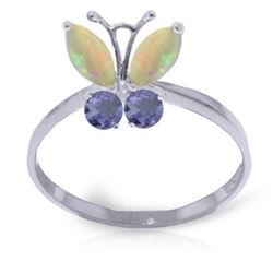 ALARRI 0.7 Carat 14K Solid White Gold Butterfly Ring Opal Tanzanite