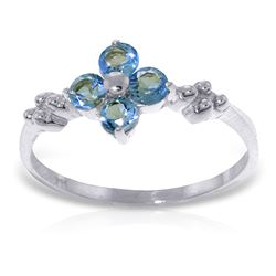ALARRI 0.58 Carat 14K Solid White Gold If You Love Blue Topaz Ring