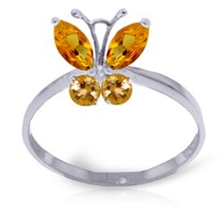 ALARRI 0.6 Carat 14K Solid White Gold Butterfly Ring Natural Citrine