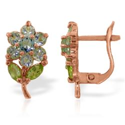 ALARRI 2.12 CTW 14K Solid Rose Gold Flowers Stud Earrings Aquamarine Peridot