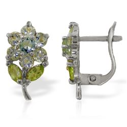 ALARRI 2.12 CTW 14K Solid White Gold Flowers Stud Earrings Aquamarine Peridot