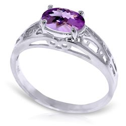 ALARRI 1.15 Carat 14K Solid White Gold Filigree Ring Natural Purple Amethyst
