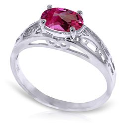 ALARRI 1.15 Carat 14K Solid White Gold Filigree Ring Natural Pink Topaz