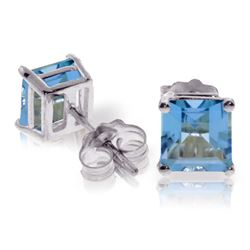 ALARRI 1.75 CTW 14K Solid White Gold Ce Qui Me Manque Blue Topaz Earrings