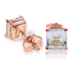 ALARRI 1.75 Carat 14K Solid Rose Gold Sparkle Aquamarine Stud Earrings