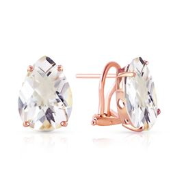 ALARRI 10 Carat 14K Solid Rose Gold French Clips Earrings Natural Rose Topaz
