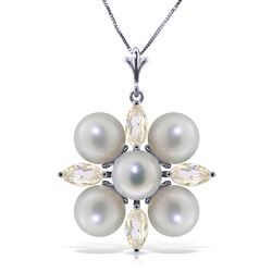 ALARRI 6.3 Carat 14K Solid White Gold Necklace White Topaz Pearl