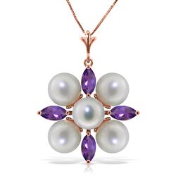 ALARRI 6.3 CTW 14K Solid Rose Gold Necklace Amethyst Pearl