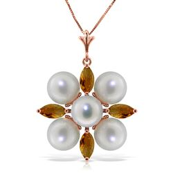 ALARRI 6.3 CTW 14K Solid Rose Gold Snowflake Pearl Citrine Necklace