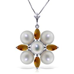 ALARRI 6.3 Carat 14K Solid White Gold Fragrant Kiss Citrine Pearl Necklace
