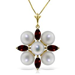 ALARRI 6.3 Carat 14K Solid Gold Explore The Senses Garnet Pearl Necklace
