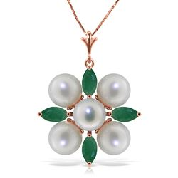 ALARRI 6.3 Carat 14K Solid Rose Gold Necklace Emerald Pearl