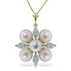 ALARRI 6.3 Carat 14K Solid Gold White Night Aquamarine Pearl Necklace