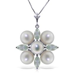 ALARRI 6.3 Carat 14K Solid White Gold Kissing Spree Aquamarine Pearl Necklace