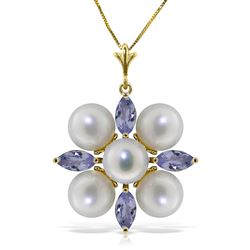 ALARRI 6.3 Carat 14K Solid Gold Fortune Is A Wisdom Tanzanite Pearl Necklace