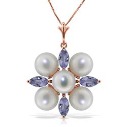 ALARRI 6.3 CTW 14K Solid Rose Gold Necklace Tanzanite Pearl